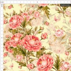 Tecido Tricoline Estampado Digital Rosas e Borboletas Vintage Amarelo 9100e4311