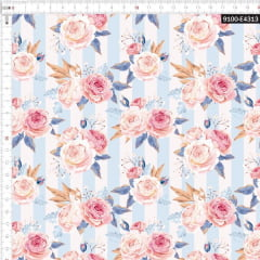 Tecido Tricoline Estampado Digital Rosas Listradas Azul 9100e4313
