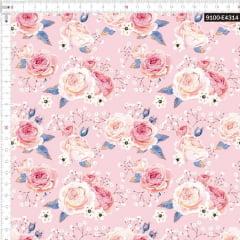 Tecido Tricoline Estampado Digital Rosas Portuguesas 9100e4314