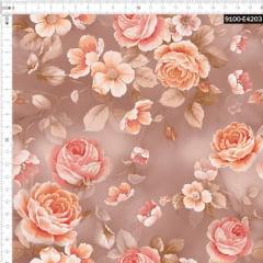 Tecido Tricoline Estampado Digital Rosas Secas Outono 9100e4203