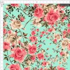 Tecido Tricoline Estampado Digital Rosas Tenras 9100e4310