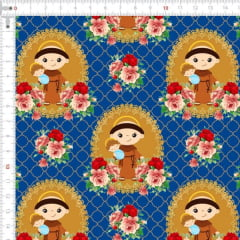 Tecido Tricoline Estampado Digital  Santo Antônio  Azul 9100e4448