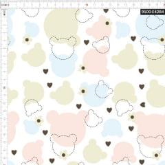 Tecido Tricoline Estampado Digital Silhueta de Ursos Colorido 9100e4284