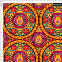 Tecido Tricoline Estampado Digital Mandala Mão De Fátima 9100e3537