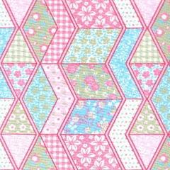 Tecido Tricoline Mista Patchwork Colorido Rosa e Azul 17670cor02