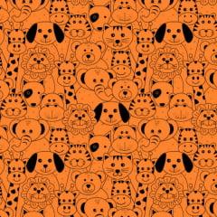 Tecido Tricoline Estampado Animais Africanos Fundo Laranja 18174v02