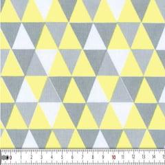 Tecido Tricoline estampado Losango Amarelo com Cinza Hibérico 16630