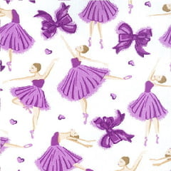 Tecido Tricoline Estampado Bailarinas Lilás 12207