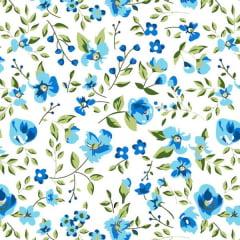 Tecido Tricoline Mista Estampado Floral Sacramento Fundo Branco - 12230