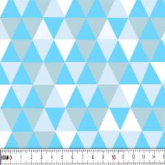 Tecido Tricoline Mista Estampado Losango Cinza e Azul Claro Hiberico 16631