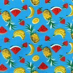 Tecido Tricoline Mista Estampado Mix de Frutas 4 Fundo Azul 180727