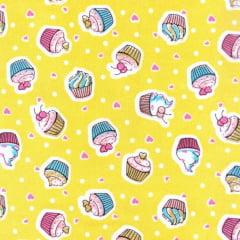 Tecido Tricoline Estampado Cupcake Fundo Amarelo 180729