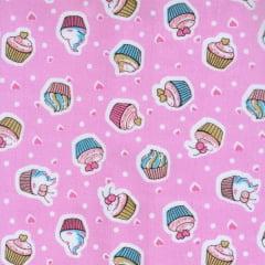 Tecido Tricoline Estampado Cupcake Fundo Rosa 180730