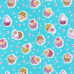 Tecido Tricoline Estampado Cupcake Fundo Tifanny 180731