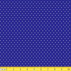 Tecido Tricoline Mista Poá Micro Branca Fundo Azul Royal - 14908
