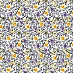 Tecido Tricoline Mista Estampado Floral Miudo 17834