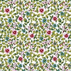 Tecido Tricoline Mista Estampado Portiguara 3 - Floral Rosa 17836