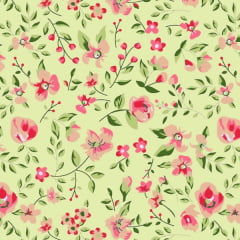 Tecido Tricoline Mista Estampado Floral Sacramento Fundo Verde - 12229
