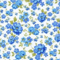 Tecido Tricoline Estampado Floral Azul  15892