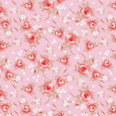 Tecido Tricoline Mista Floral Miosotis 2 Rosa Fundo Rosa 14399