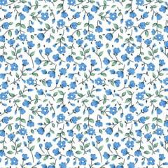 Tecido Tricoline Mista Susy Floral Pequeno Azul 6474v03