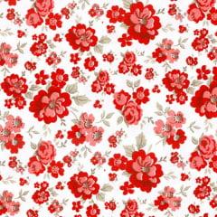 Tecido Tricoline Mista Floral Vermelho 15891c1