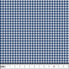 Tecido Tricoline Estampado Mine Pied De Poule Azul 16705c3