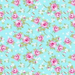 Tecido Tricoline Mista Floral Rosa Fundo Verde Tiffany 14398