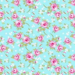 Tecido Tricoline Mista Floral Miosotis 1 Rosa Fundo Verde Tiffany 14398