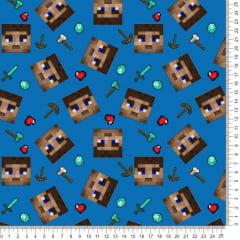 Tecido Poliéster Estampado Minecraft Fundo Azul RA73039