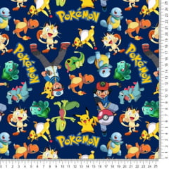 Tecido Poliester Estampado Pokemon Fundo Marinho RA72686