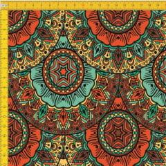 Tecido Tricoline Estampado Digital Mandalas 9100E429