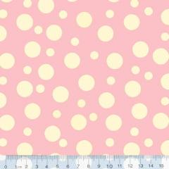 Tecido Tricoline Bolinha Bolhas Bege Fundo Rosa 1134v130