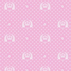 Tecido Tricoline Estampado Corôa Branca Fundo Rosa 1169v081