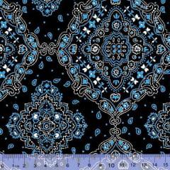 Tecido Tricoline Bandana Preto com Azul 2272-2