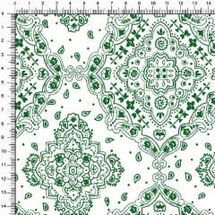 Tecido Tricoline Bandana - Verde Branco 2272-60