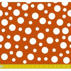 Tecido Tricoline Bolinha Bolhas Branca Fundo Ocre 1134v149
