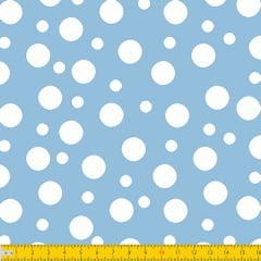 Tecido Tricoline Bolinha Bolhas Brancas Fundo Azul Bebe 1134v082