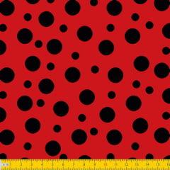Tecido Tricoline Bolinha Bolhas Pretas Fundo Vermelho 1134v011