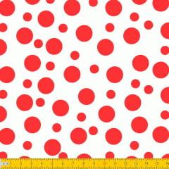 Tecido Tricoline Bolinha Bolhas Vermelha Fundo Branco 1134v148