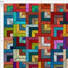 Tecido Tricoline Digital Croche Geometrico Quadrados 9100e1892