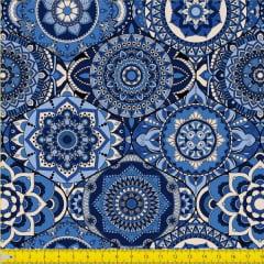 Tecido Tricoline Digital Estampado  Mandalas Azul E1039