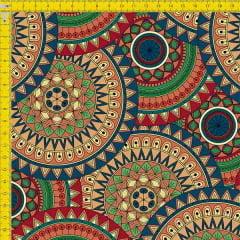 Tecido Tricoline Digital Estampado Mandalas Coloridas Bege 9100e749