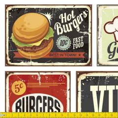Tecido Tricoline Digital Estampado  Jogo Americano  Fast Food Retrô 9100e1031