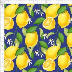 Tecido Tricoline Digital Limão Siciliano Fundo Azul 9100e1784