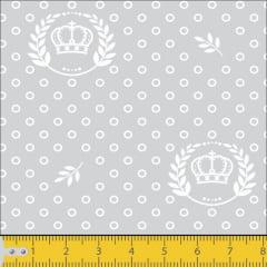 Tecido Tricoline Estampado Coroa Branca Fundo Cinza 1169v091