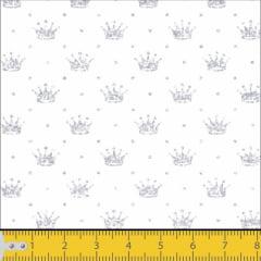 Tecido Tricoline Estampado Coroa Cinza Fundo Branco 1143v004