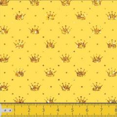 Tecido Tricoline Estamapado Corôa Dourada Fundo Amarelo 1143v005