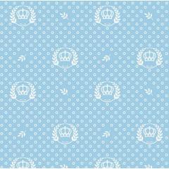 Tecido Tricoline Estampado Coroa Azul Bebê 1169v082