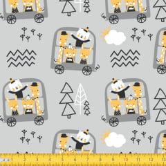 Tecido Tricoline Estampado Carrinho dos Bichos Teepee Kids 4080v01
